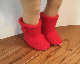 "Fleece Booties for 18 Inch Dolls. Bright Red Fleece with Button Trim. 18"" Doll Clothes."