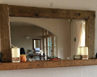 Large wood mirror, Large candle shelf mirror, Large shelf mirror,Mantelpiece Mirror,Statement  Mirror,Design Mirror,Fireplace Mirror,Rustic