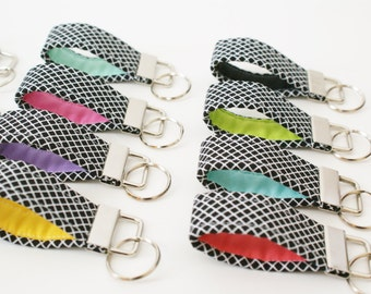 Mini Fabric Keychain - Choose Your Color - Finger Key Fob - Cute Key Fob - Short Key Ring - Key Lanyard - Small Key Fob - Bridesmaid Gift