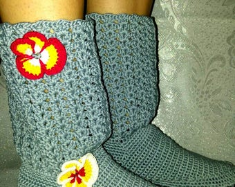 Crochet Slipper shoes Handmade Boots Beautiful Gray Women Slippers
