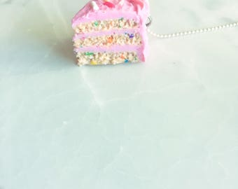 Birthday Cake Necklace- Pink Cake Charm Necklace - Polymer Clay Necklace - Cute Birthday Gift -- Tiny Food