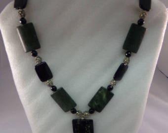 Vintage Black and Green Jade Necklace