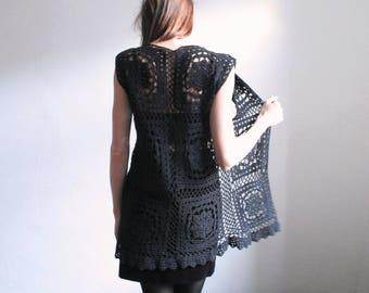 Vintage black crocheted long vest
