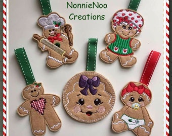 NNC ITH set of 5 Gingerbread hangers for the 4x4 hoop in all popular formats