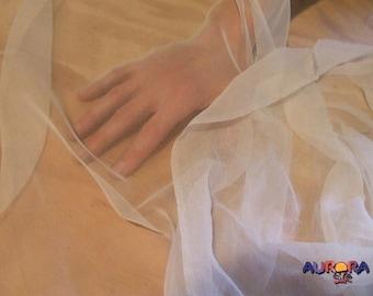 100% Silk Chiffon | Veil Silk by the Yard | Natural Silk | Ready to Dye | Lightweight Silk Fabric | Bridal Silk Fabric | Bridal Fabric