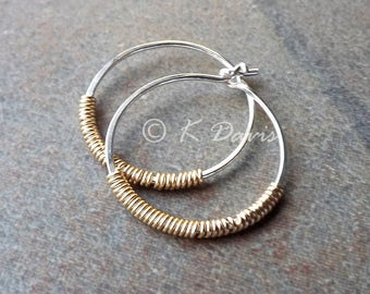 Silver Hoop Earrings Sterling Silver Hoops Gold Wrapped Mixed Metal Womens Jewelry Gift for her, custom jewelry, mothers day gift, mom gift