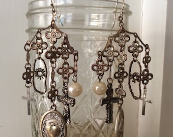 Upcycled Assemblage Earrings with Religious Crosses and Medals