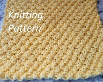 Dish Cloth Knitting Pattern, Knit Wash Cloth Pattern, INSTANT DOWNLOAD PDF