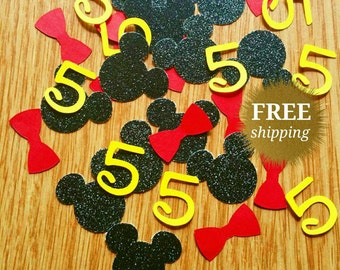 Mickey Mouse Confetti Mickey Mouse Number Confetti Glitter Mickey Mouse Decor Mickey Mouse Theme Mickey Mouse Party Mickey Birthday Party