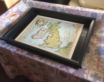 hand made wooden tray painted black and inlaid with repro 1595 map of the British isles