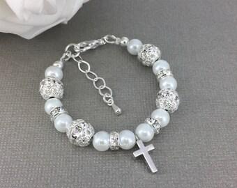 Baptism Gift Baptism Bracelet Frist Communion Gift Cross Charm Bracelet Goddaughter Bracelet Godmother Gift Godmother Bracelet