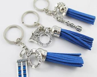 Dr Who Inspired Keychain Bag Tag Swivel Pick Tardis Dalek or Sonic Screwdriver