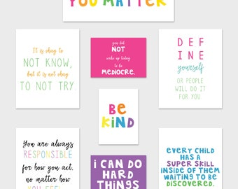 Teacher Classroom Art Prints, Growth Mindset Posters, Classroom Posters, Bright Classroom Decor, Rainbow Classroom Art, Inspirational Quotes