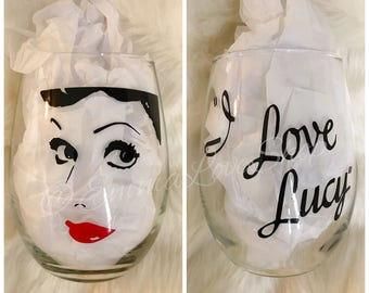 I Love Lucy Wine Glass, classic movie wine glass, lucille ball wine glass, lucy wine glass, tv show wine glass