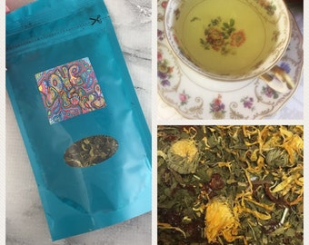 Hippe Vibe Organic Herbal Tea w Free Mesh Ball Tea Infuser Rose Hips Peppermint Marigolds