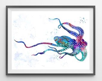 Octopus Watercolor Print sea life art Ocean life Illustration Octopus poster octopus illustration sea art octopus wall decor gift [66]