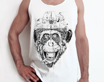 Tank top man handprinted Giungla Urbana white edition