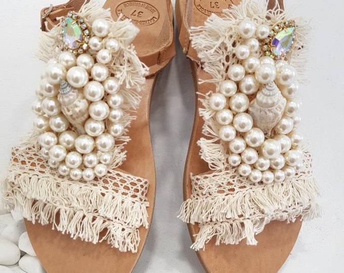 Free dhl,Greek sandals,crystal sandals,luxury sandals,wedding sandals,bridal sandals,shells,pearls sandals,summer shoes,flats,handmade