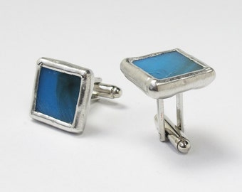 Blue Sky - Mens Stained Glass Cuff Link Set