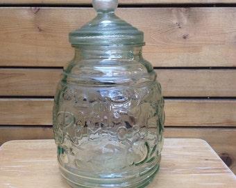 Vintage Italian Transparent Green Hermetic Glass Rumtolf Jar. Made In Italy.