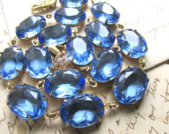 "Anna Wintour necklace, collet necklace, sapphire necklace, light blue statement necklace, choker necklace. ""Cool Waters"""
