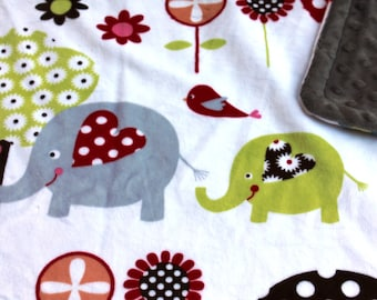 Minky Blanket Elephant Print Minky with Grey Dimple Dot Minky Backing - Perfect Size a Toddler or Child 36 x 42