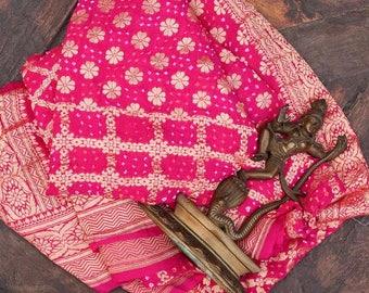 Handwoven Pink Banarasi Bandhej Dupatta In a beautiful ombre dye