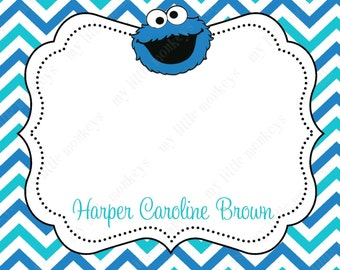 10 PRINTED Cookie Monster Thank You Cards with Envelopes.  Free Return Address Labels