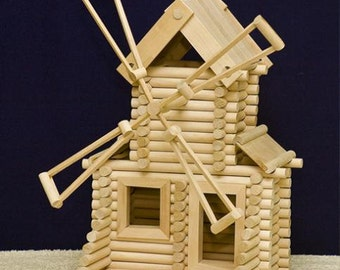 """Wooden Construction Set """"Windmill"""" Made of Logs"""