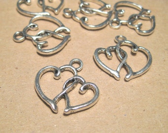 Antique Silver Double Heart Charm Pendants
