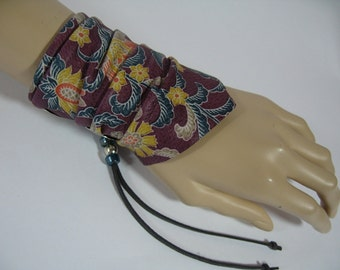 BOHO Gypsy Jewelry Leather Cuff Bracelet FLower Hippie Wristband Bandana Handcrafted Vintage Floral Print Leather Wrap Wrist Band