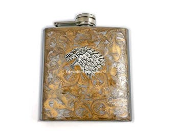 Stark Wolf Flask Inlaid in Hand Painted Enamel Gold Swirl Design Game of Thrones Inspired Custom Colors and Personalized Options Available