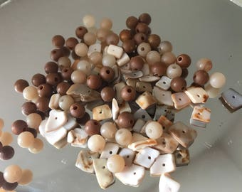 Brown Cream Neutral Plastic Beads