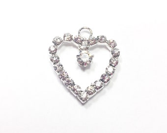 2-10 Rhinestone Heart Charm or Heart Pendant. Beautiful. Simple. Has a Rhinestone drop center.