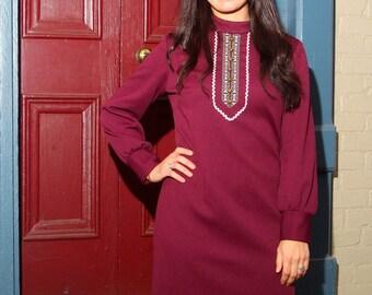 1970s boho shift dress