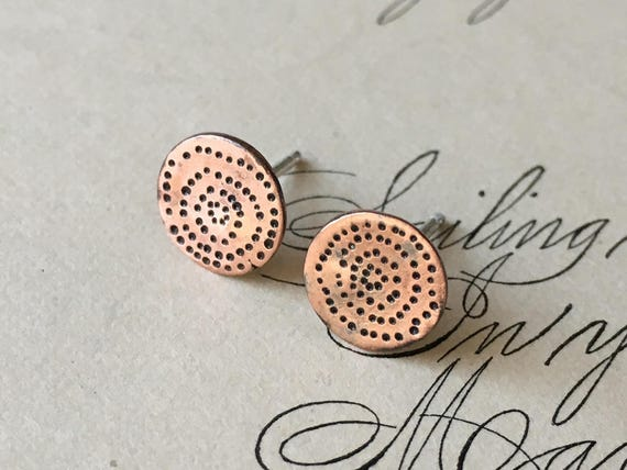 Copper Circle Earrings, Carved Earrings, Wabi Sabi Jewelry, Small Studs