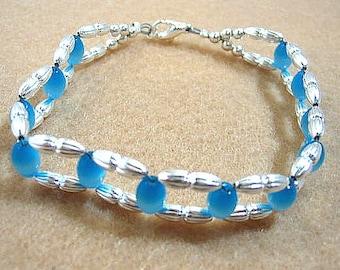 Blue Glass Beadwoven Bracelet, Handwoven Bracelet, Handmade Beaded Cuff, Glowing Mystical Blue Jewelry, Handmade