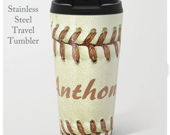 Baseball Coffee Mug-Stainless Steel Travel Mug-Coffee Tumbler-Baseball Coffee Tumbler-Insulated Travel Mug-Personalized Mug-Coach Gift