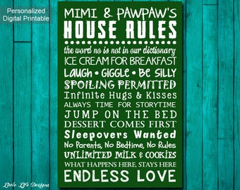 Grandparent's House Rules Sign. Grandparent's Rules Wall Art. Personalized. Custom Gift for Grandpa. Mothers Day Gift for Grandma. Gift Idea