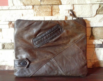 A large clutch bag/ brown recycled leather