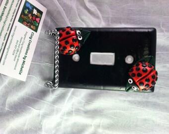 Black Ladybug Single Switch Plate