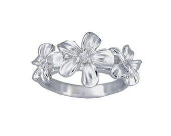 Hawaiian Heirloom Jewelry 3 Plumeria Flower CZ Ring Sterling Silver Jewelry from Maui, Hawaii