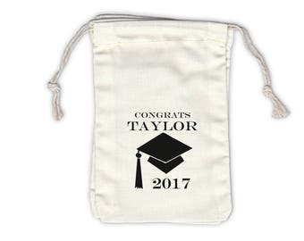 2018 Graduation Cap Personalized Cotton Favor Bags for Graduation Party - Ivory Fabric Drawstring Bags - Set of 12 (1001)
