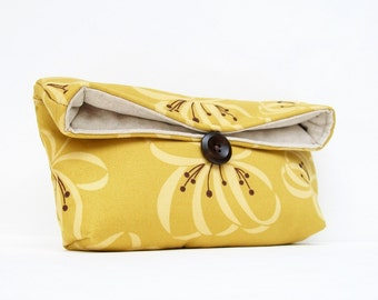 Gold Cluch, Yellow Clutch, Mustard Clutch, Floral Clutch, Spring Wedding Bridal Clutch, Bridesmaid Gift, Bridesmaid Clutch, Makeup Bag