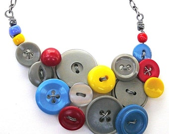 Primary Colors and Gray Vintage Button Statement Jewelry Necklace, Upcycled and Repurposed -  Clearance Sale Button Jewelry