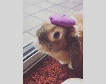 Handsewn felt bunny beret