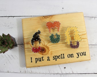 Hocus Pocus Art-Sanderson Sisters-Halloween Decor String Art-Unique Witches Halloween Fall Sign-I Put a Spell on You-Bunch of-90s kid gift