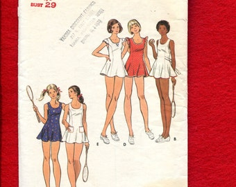1970's Butterick 3094 Tennis Dresses with Princess Seams & Ruffled Shoulders Size 7/8 Junior