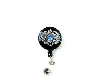 Unique Vintage Repurposed Silver Tone Filigree Earring with Blue Rhinestones Made into a Retractable Name Badge Holder. An Ideal Gift.