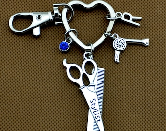 Scissors keychain, hairstylist jewelry, hairdresser jewelry, hairdresser gift, Hair stylist keyring, cosmetologist gift, beautician gift 955